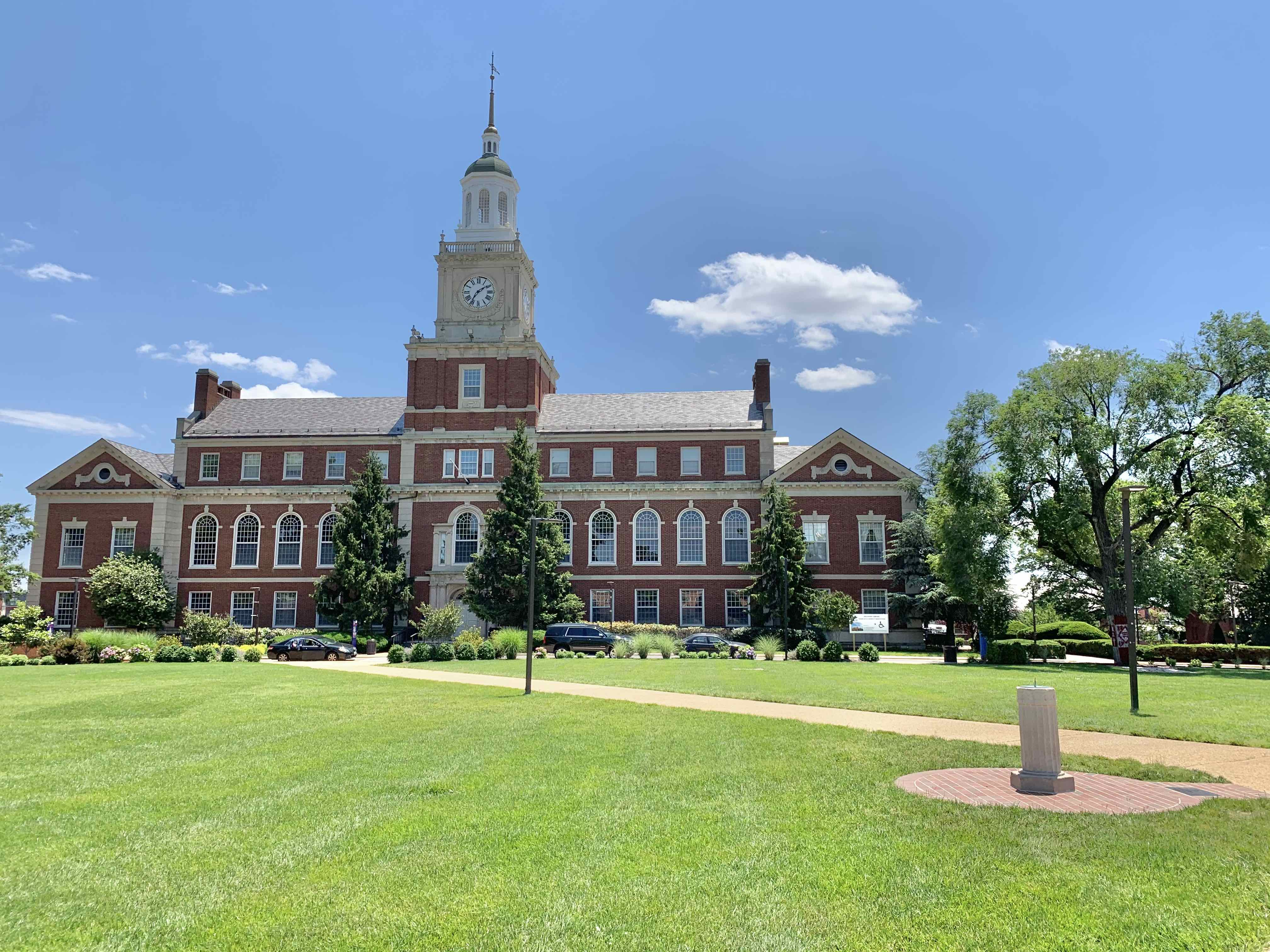 Howard University's Founders Library from the perspective of the upper quadrangle, also known as the yard.